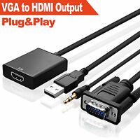 1080P VGA to HDMI + USB Audio Video Cable Adapter Converter Laptop DVD HD TV V3