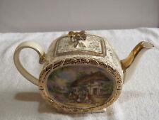 VINTAGE RARE SADLER Oval Barrel Teapot, Tavern Country Scene, 1.25 Pt.