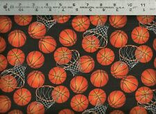 Timeless Treasures ~ Basketball Hoops Sport Balls ~ 100% Cotton Quilt Fabric Bty
