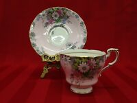 Paragon Double Warrant  Pink Floral Cineraria Bone China Tea Cup And Saucer Set