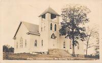 Mt Sterling Iowa~Christian Church~Open Belfry~Stained Glass Windows~1910 RPPC