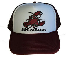 Maine Lobster Burgandy Snapback Mesh Trucker Hat Cap