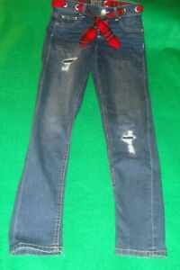JUSTICE~girl's~DISTRESSED/MID/RISE/LEGGINGS/w/SASH! (14/SLIM) REALLY/CUTE!
