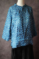 VTG design blue print linen top Chinese shirt ethnic artsy wear sz M blouse