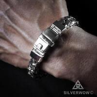 Mens Silver Bracelet - Heavy Square Braided Wrist-Wear x 11mm wide