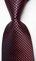 New Classic Checks Dark Blue Orange JACQUARD WOVEN 100% Silk Men's Tie Necktie