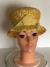 Vintage 1960 s MOD Sunny Yellow Woven Bubble Hat 21