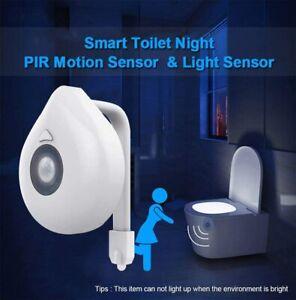 8 Colors Human Motion Sensor Activated LED Toilet Night Light UV Bathroom Lamp.
