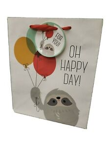 """Sloth Oh Happy Day Gift Bag with Handle 12"""" x 10"""" x 7"""" Deep Birthday"""
