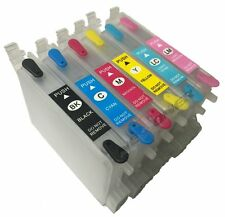 6 Empty Refillable Ink Cartridge Set for Epson Stylus Photo R200 R220 R300 R300M