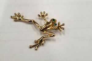 COOL Solid 14K Yellow Gold Frog Pendant Charm w/ Green Eyes