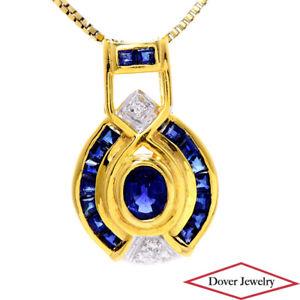 Diamond 1.59ct Sapphire 18K Gold Art Deco Style Slide Pendant NR