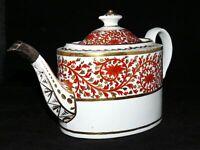 Antique Coalport Teapot Oval Silver Spout 1805 Bone China England