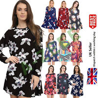 Ladies Printed Swing Skater Dress Long Sleeve A Line Party Women's Top Halloween