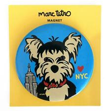 "*NWT* Marc Tetro 3"" Blue Round Magnet Yorkie Heart NYC Yorkshire Terrier Empire"