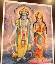 SRI LAXMI NARAYANA HINDU GOD PICTURE 20 X 15 INCH ON PAPER NO FRAME NEW