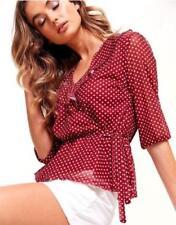 Ruffle V-Neck Regular Size Tops for Women