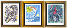 """3 Chagall Prints:""""Happiness, Circus Girl, Bay Angles"""" Signed/Hand-Number Ltd Ed"""