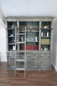 Big Estate Bookcase In A Weathered Oak Finish - Large Bookcase With Ladder!