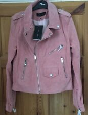 ZARA PINK REAL SUEDE / LEATHER BIKER JACKET WITH ZIPS Size M BNWT