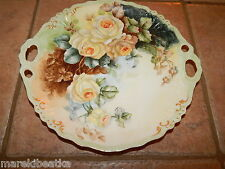 ANTIQUE LIMOGES FRANCE JEAN POUYAT HAND PAINTED YELLOW ROSE, HANDLED CAKE  PLATE