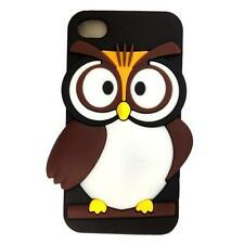 3D Owl Slim Cute Cartoon Silicone Case Back Cover Skin for iPhone 4 4S - Black