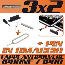 TAPPO/STOPPER ANTI-POLVERE KIT CUFFIE/DOCK PER IPHONE 4 / 4S + PIN IN OMAGGIO