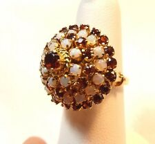 Vintage Dome of Opals & Garnets in this 14k Ring
