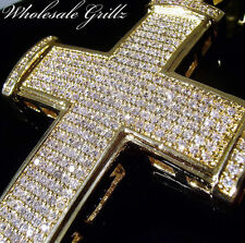 MENS $289 ICED OUT 14K GOLD GP CROSS CHARM PENDANT MICRO PAVE ICE HIP HOP BLING!