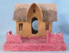 Vintage Christmas House Train Yard Putz Japan Yellow Gray Roof Pink Fence #57