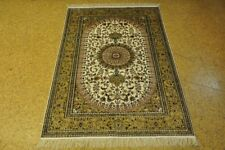 Silk Tabriz Ivory New Hand-Knotted Rug 4' x 6' Rugs