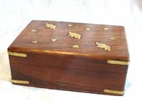 JEWELLERY TRINKET BOX Hand Carved Wood Box Elephant Brass Inlay Small Med Large