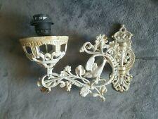 Vintage Shabby metal French Patio Garden wall light sconce w bird romantic Paris