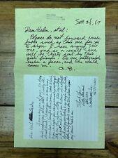 Vintage 1987 Carl Barks Handwritten & Signed Letter Donald Duck Walt Disney