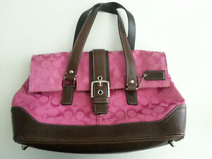 Hard-to-find Coach Hampton Magenta Signatures satchel with brown leather