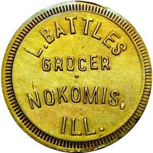 1917 Nokomis Illinois Good For Token L Battles Grocer Unlisted Merchant