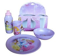 Disney Princess 4 Piece Set Childrens Dinner Sets Bowl Plate Cup Drink Bottle