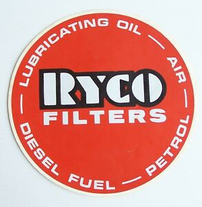 GENUINE VINTAGE RYCO OIL FILTERS LOGO ADVERTISING PROMO CAR GARAGE STICKER