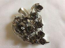 charm dangling crystal rhinestones Pin Brooch Vtg Silver Plate Metal Berry Leaf