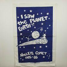More details for nucolorvue halleys comet commemorative tea towel 1985 -86 hand printed australia