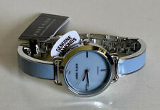 NEW! ANNE KLEIN GENUINE DIAMOND COLLECTION BABY BLUE BANGLE BRACELET WATCH $85