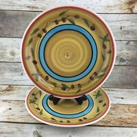2 ROYAL NORFOLK Stoneware Dinner Plates Multi Colored Olives Orange Tan Blue