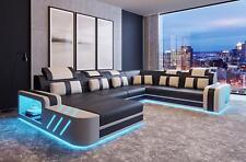 Design Sofa Couch Leder Polster Garnitur Wohnlandschaft Ecksofa A5 Beleuchtet