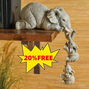 Kunstbemalte Elefanten Sitter Handgemalte Figuren Set von 3 Mutter und zwei