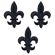 Black Fleur De Lis Cross Applique Patch (3-Pack, Iron on)