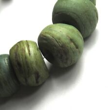 """8 RARE LARGE STUNNING OLD/ANCIENT GRADUATED GREEN """"HEBRON"""" GLASS BEADS ~"""