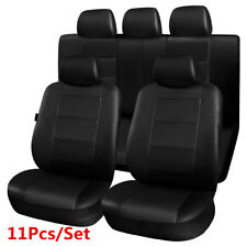 Black 11Pcs Standard 5-seat Car Full Seat Covers Dust Cover Airbag Compatible