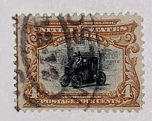 Travelstamps: 1901 US STAMPS Scott # 296 Automobile used, No Gum, Pan-American