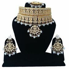 Indian Kundan Traditional White Gold Tone Necklace Earrings Tikka Jewelry Set