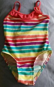 H & T Girl's Bathers/Swimsuit Size 2 Hot Pink Edging w multi colour STRIPES New
